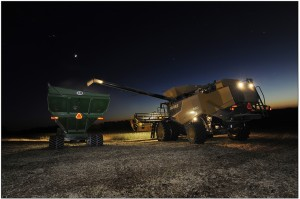 Platte County 100 Harvest at night